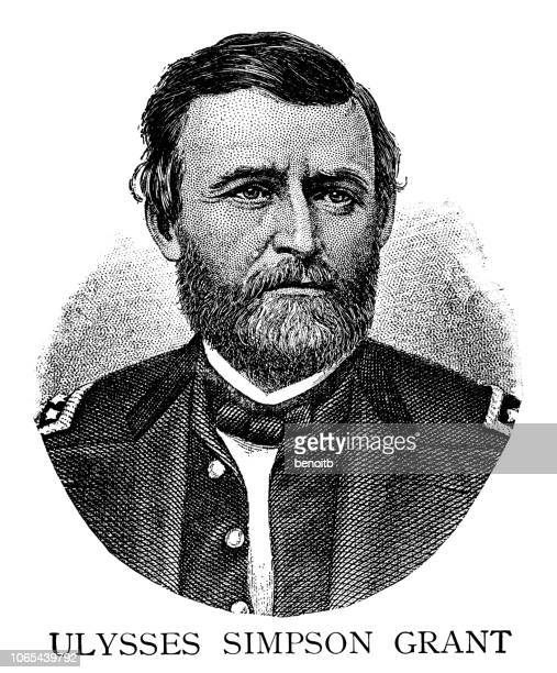 ulysses simpson grant - president stock illustrations, clip art, cartoons, & icons