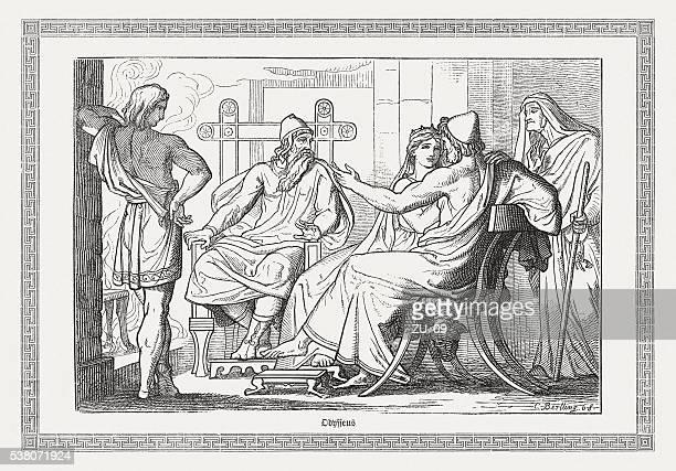 illustrations, cliparts, dessins animés et icônes de ulysse raconte ses amis, ses aventures, la mythologie grecque, publié 1880 - ulysse