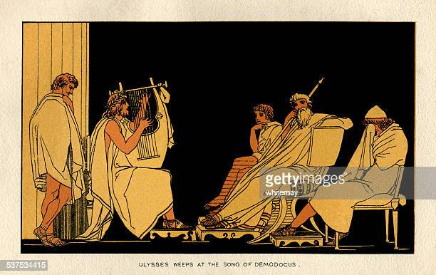 ulysses weeps at the song of demodocus - greek mythology stock illustrations