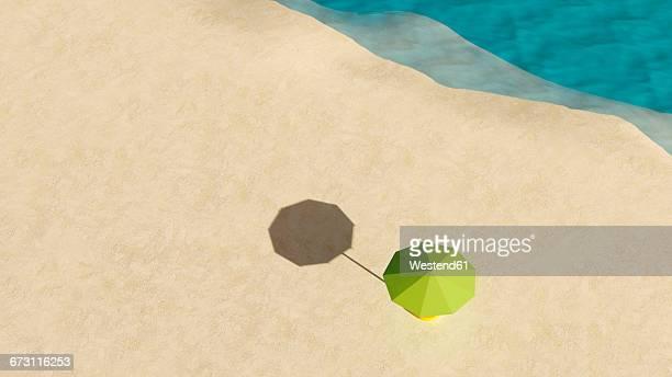 Umbrella on sandy beach seen from above, 3D Rendering