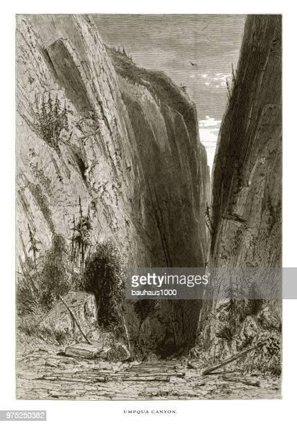 Umpqua Canyon, Sierra Nevada Mountains, Northern California, United States, American Victorian Engraving, 1872