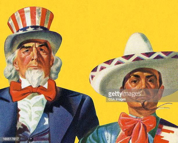 ilustrações, clipart, desenhos animados e ícones de uncle sam e um homem mexicana - sombreiro