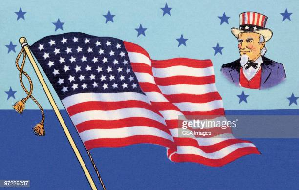 uncle sam and american flag - national flag stock illustrations