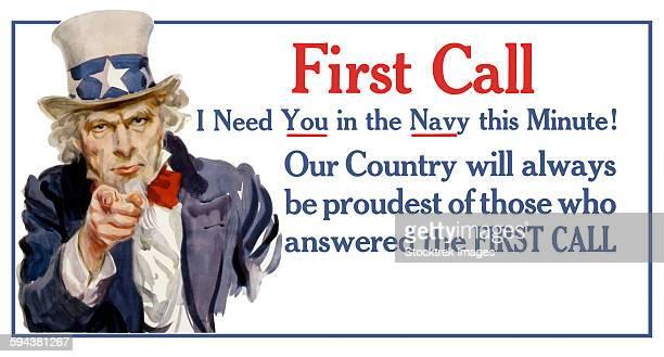 uncle sam vintage war poster. - us navy stock illustrations