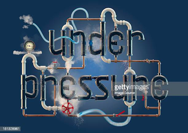 Under Pressure - word illustration formed from pipes