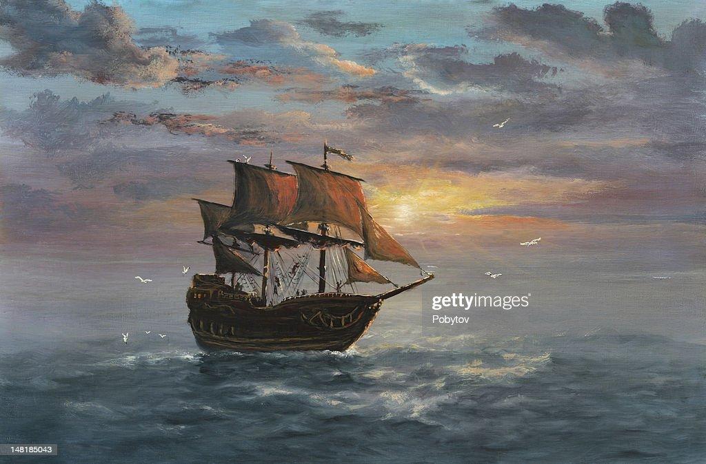Under sail : stock illustration