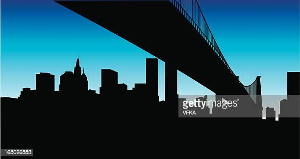 under the bridge... - brooklyn bridge stock illustrations, clip art, cartoons, & icons