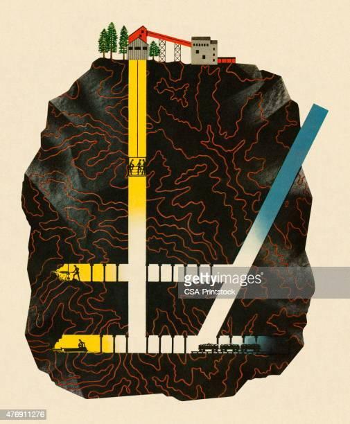 underground mining operation - geology stock illustrations, clip art, cartoons, & icons