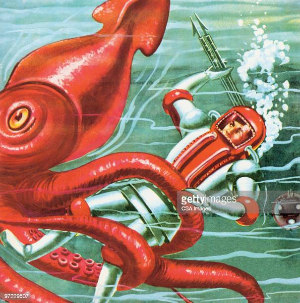 Underwater Battle with Man and Squid