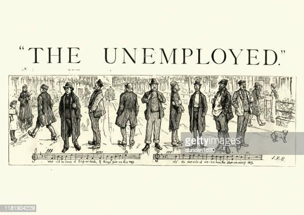 stockillustraties, clipart, cartoons en iconen met werkloze mannen zingen in de straat, victoriaanse engeland, jaren 1880 - antiek toestand