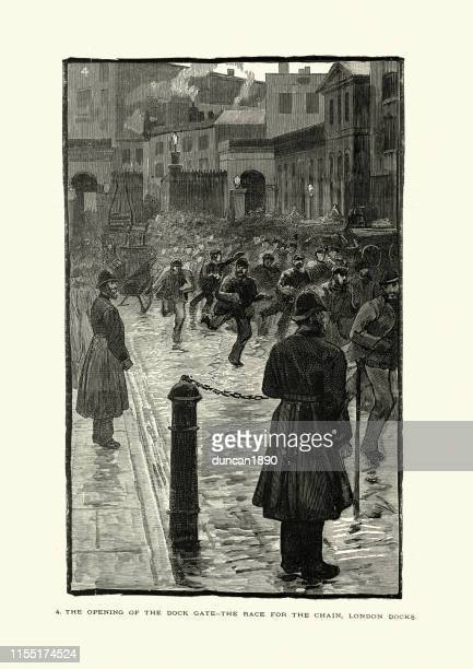 unemployed workers race to queue for jobs, london docks, 1880s - east london stock illustrations