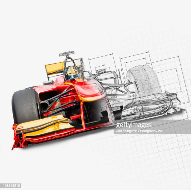 unfinished drawing of red race car with driver - formula one racing stock illustrations, clip art, cartoons, & icons