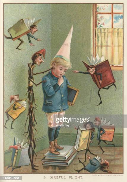 unfortunate victorian schoolboy being punished and bullied by his schoolbooks - penalty stock illustrations