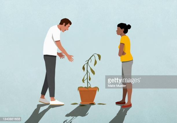 unhappy couple looking at dead houseplant - death stock illustrations