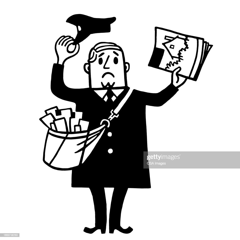 Unhappy Mailman : Stock Illustration