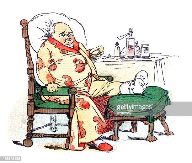 Unhappy old man with gout