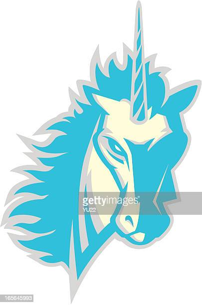 unicorn head mascot 2 - unicorn stock illustrations