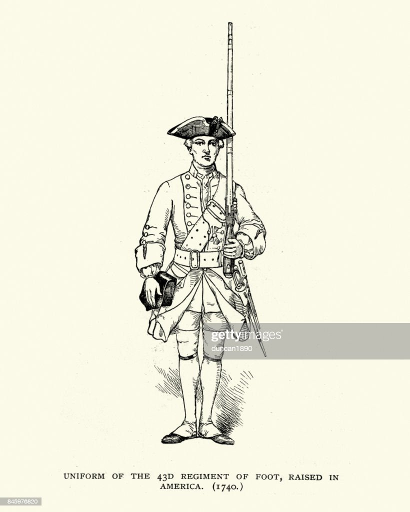 Uniform of the 43rd Regiment of Foot, 18th Century : stock illustration