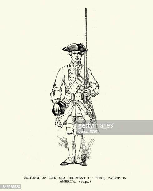 uniform of the 43rd regiment of foot, 18th century - military personnel stock illustrations, clip art, cartoons, & icons