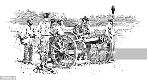 union army cannon - us military stock illustrations, clip art, cartoons, & icons