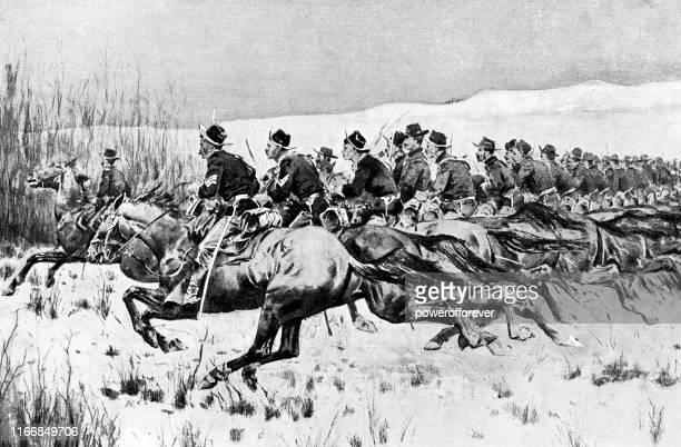アメリカ南北戦争中の戦闘で充電連合軍騎兵兵 - 19世紀 - チャージする点のイラスト素材/クリップアート素材/マンガ素材/アイコン素材