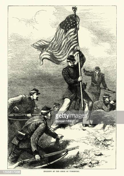 union soldier planting the flag at the siege of vicksburg - american civil war battle stock illustrations