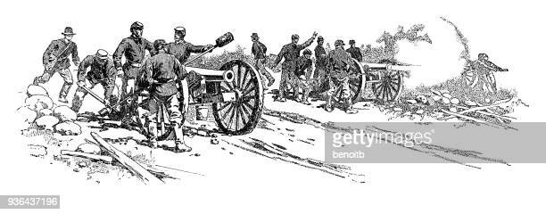union soldiers firing cannons - battlefield stock illustrations, clip art, cartoons, & icons