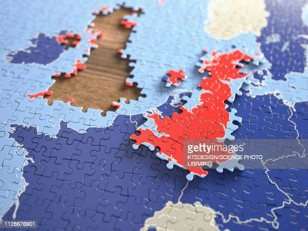 united kingdom and european union jigsaw puzzle, illustratio - brexit stock illustrations