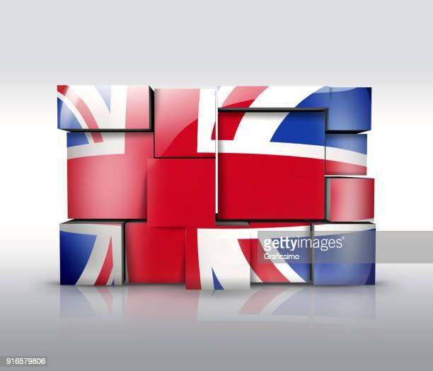 illustrations, cliparts, dessins animés et icônes de royaume-uni brexit mur avec le drapeau britannique comme puzzle isolé sur blanc - brexit
