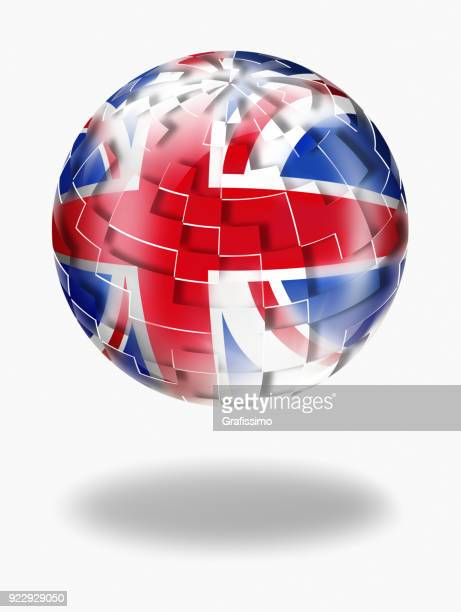 United Kingdom button sphere with british flag isolated on white