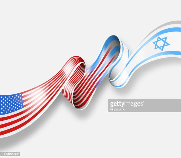 United States american flag merging with israeli