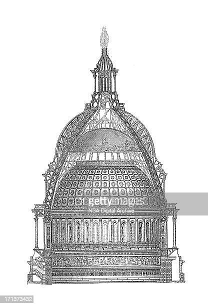 united states capitol building dome, washington | antique architectural illustrations - architectural dome stock illustrations, clip art, cartoons, & icons