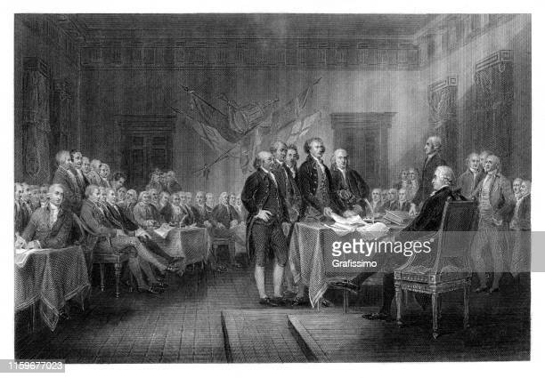 united states declaration of independence in philadelphia pennsylvania 1776 - 18th century stock illustrations