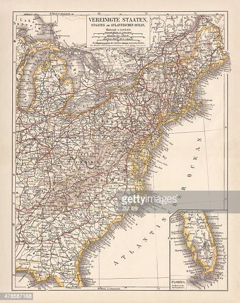 united states of america, atlantic coast, lithograph, published in 1878 - lake erie stock illustrations, clip art, cartoons, & icons