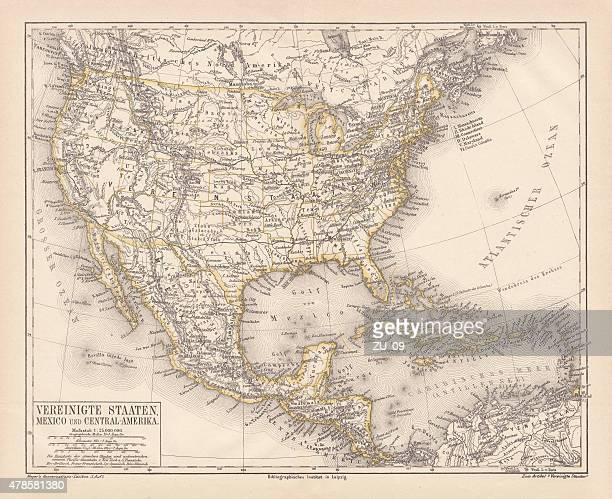 United States of America, Mexico and Central America, published in 1878