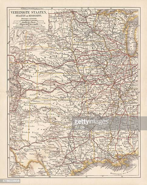united states of america, states on mississippi river, lithograph published 1878 - mississippi stock illustrations, clip art, cartoons, & icons