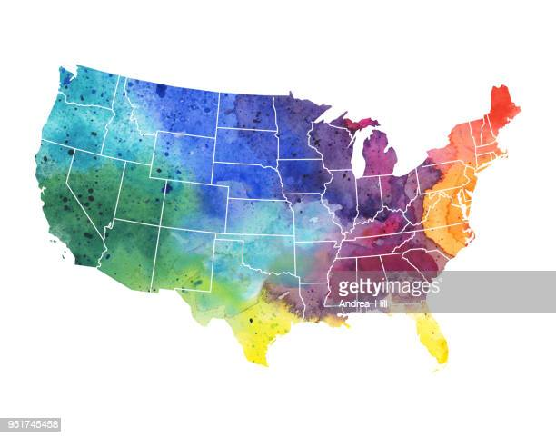 united states of america watercolor map - raster illustration - werkzeug stock illustrations
