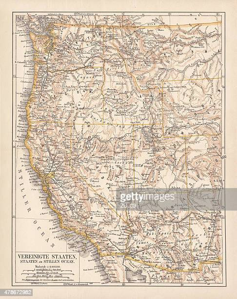 united states of america, west coast, ithograph, published in 1878 - washington state stock illustrations