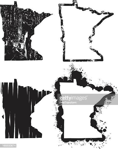 united states of grunge - minnesota - minnesota stock illustrations