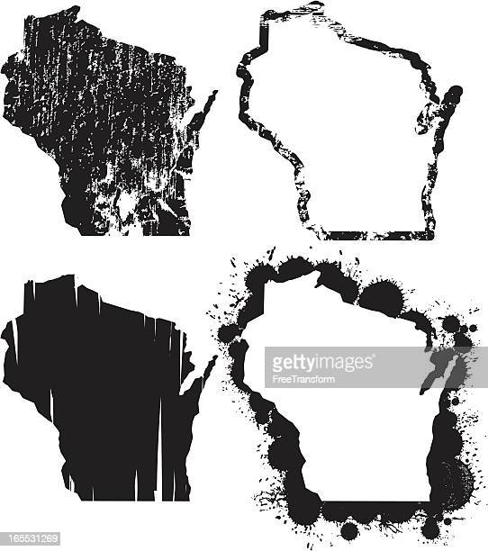 united states of grunge - wisconsin - wisconsin stock illustrations