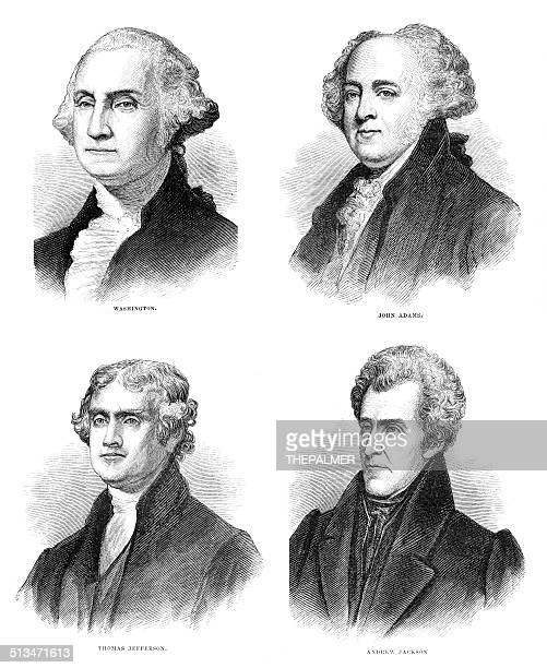 united states presidents engraving - thomas jefferson stock illustrations, clip art, cartoons, & icons