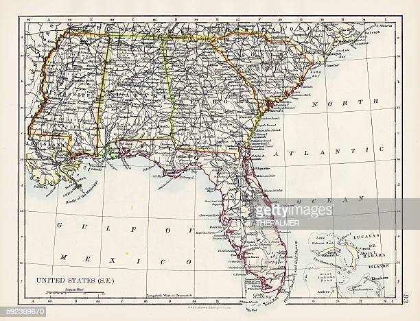 united states south east map 1897 - alabama stock illustrations, clip art, cartoons, & icons