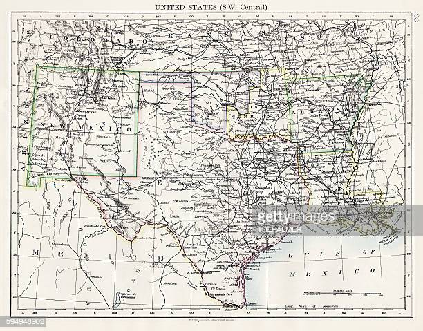 united states south west central map 1897 - southern usa stock illustrations, clip art, cartoons, & icons