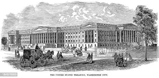 united states treasury - 1874 stock illustrations, clip art, cartoons, & icons