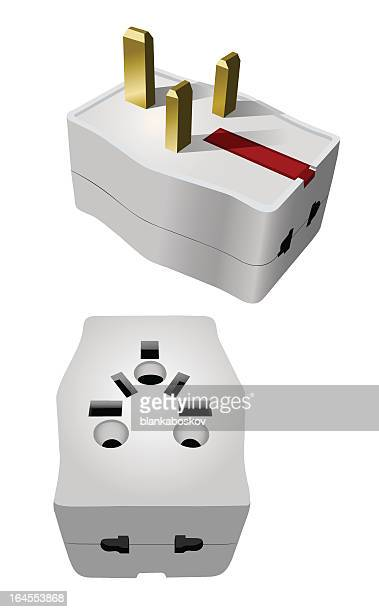 universal travel adapter - adaptor stock illustrations