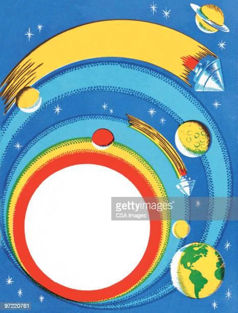 universe - orbiting stock-grafiken, -clipart, -cartoons und -symbole