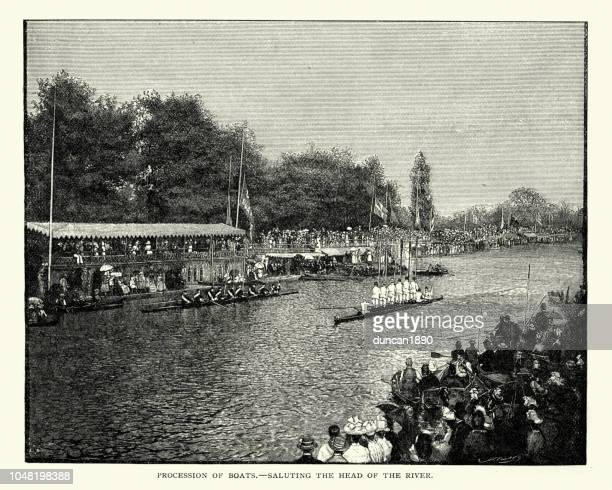 University boat race, Procession of boats, 19th Century