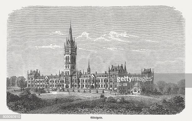 University of Glasgow, Scottland, wood engraving, published in 1873
