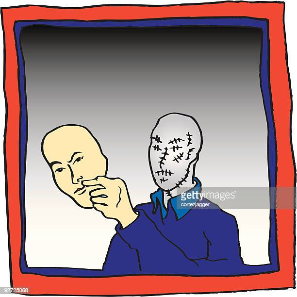 unmasked (vector illustration) - obscured face stock illustrations, clip art, cartoons, & icons