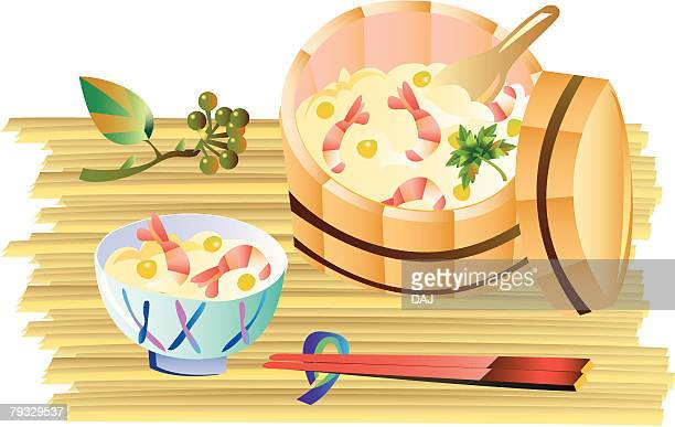 Unrolled sushi, close-up, illustration